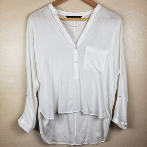 Zara Woman | White Half Button Blouse Size Small
